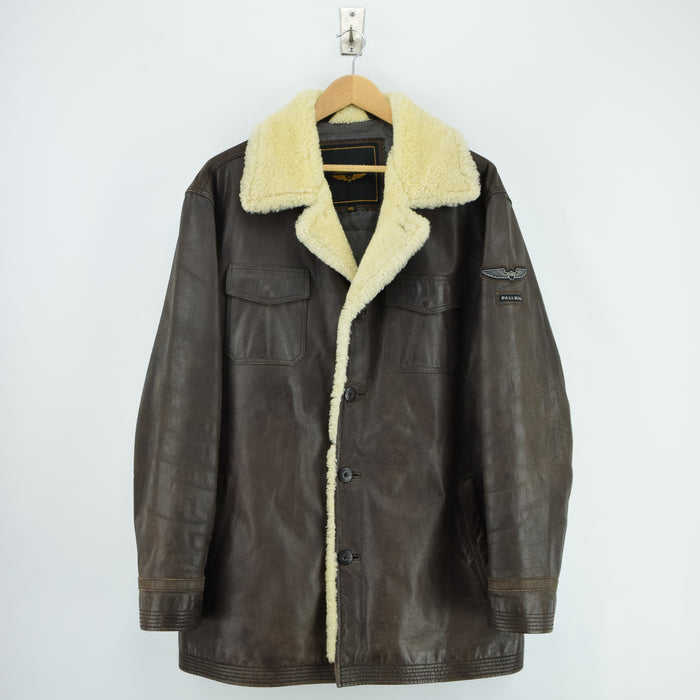 Vintage Pall Mall Cargo Pilot Coat Brown Shearling Sheepskin Flying Jacket XXL front