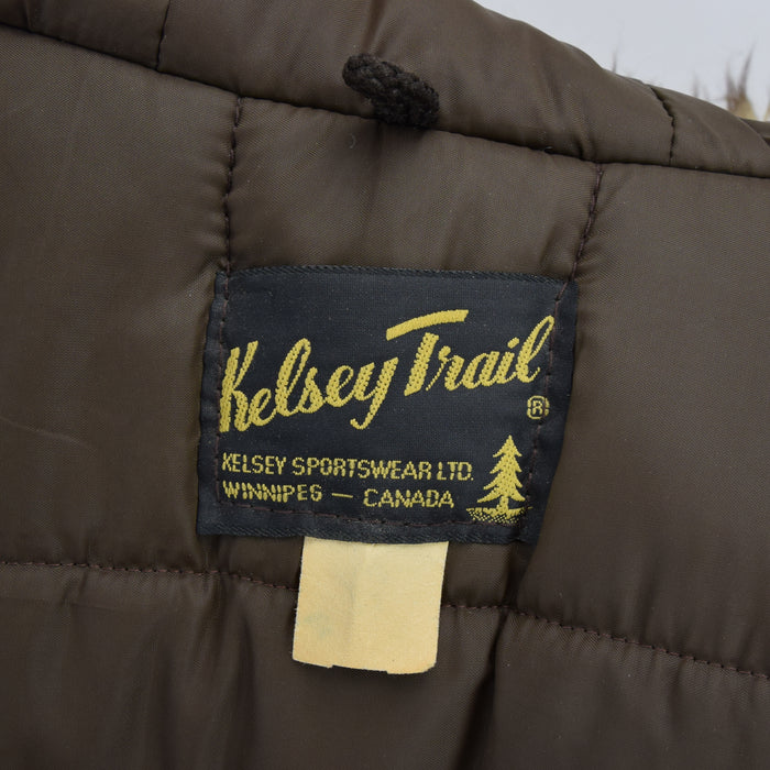 Vintage Kelsey Trail Parka Real Fur Trim Hood Arctic Jacket Canada Made L / XL label