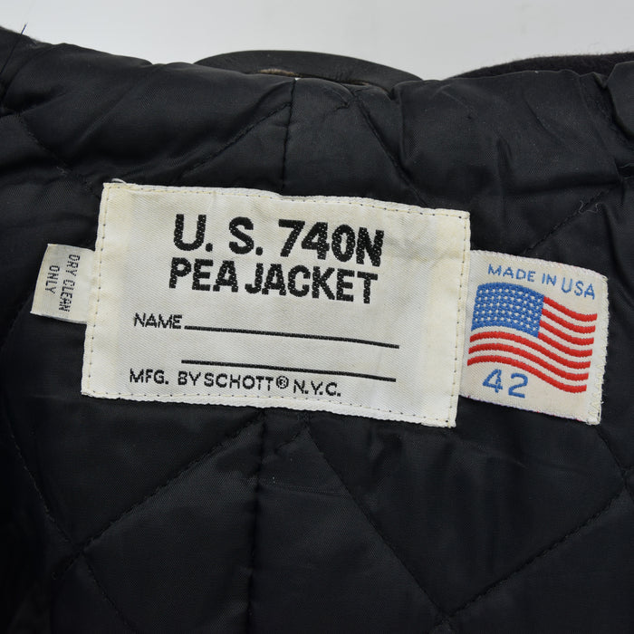 Vintage Schott Nyc 740N Black Wool Pea Coat Reefer Jacket Made in USA L label