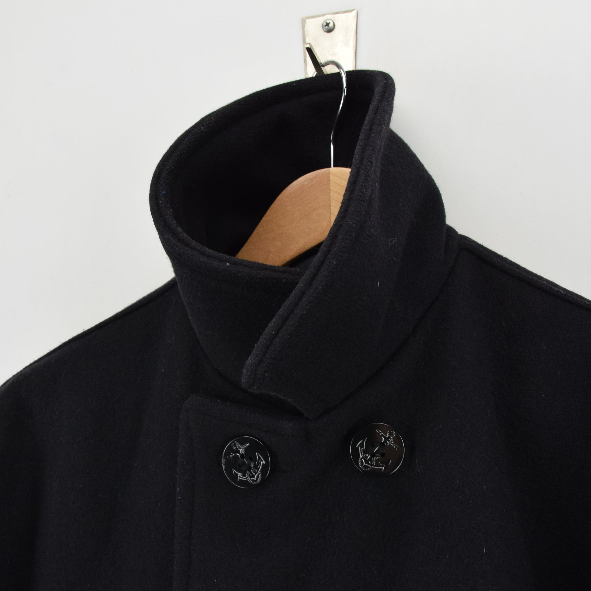Vintage Schott Nyc 740N Black Wool Pea Coat Reefer Jacket Made in USA L collar