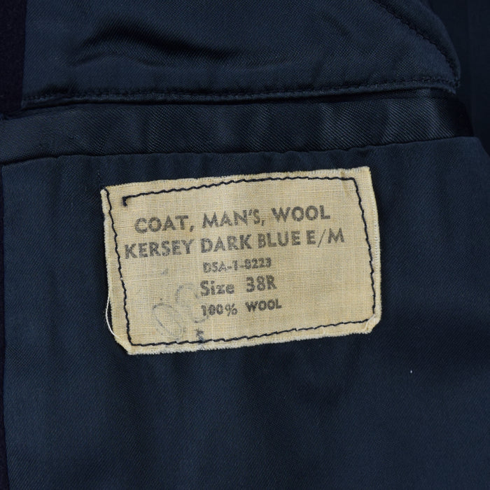 Vintage USN 60s Vietnam Era US Navy Blue Kersey Wool Pea Coat Reefer Jacket S label