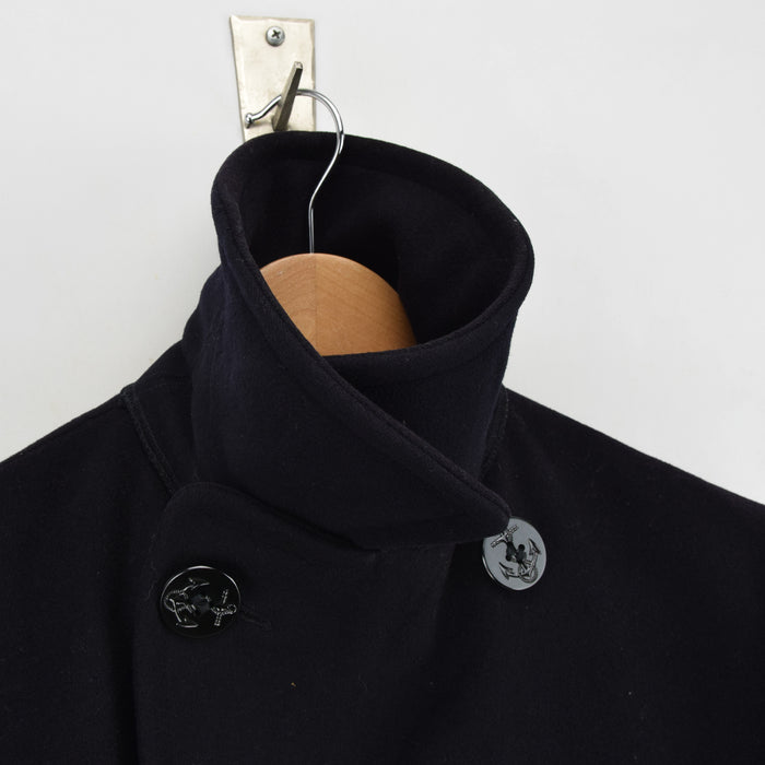 Vintage USN 60s Vietnam Era US Navy Blue Wool Pea Coat Reefer Jacket XS / S collar