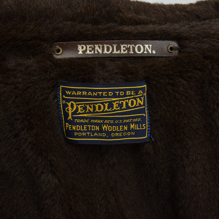 Vintage 50s Pendleton Brown Wool Coat Jacket Faux Fur Collar Made in USA M label