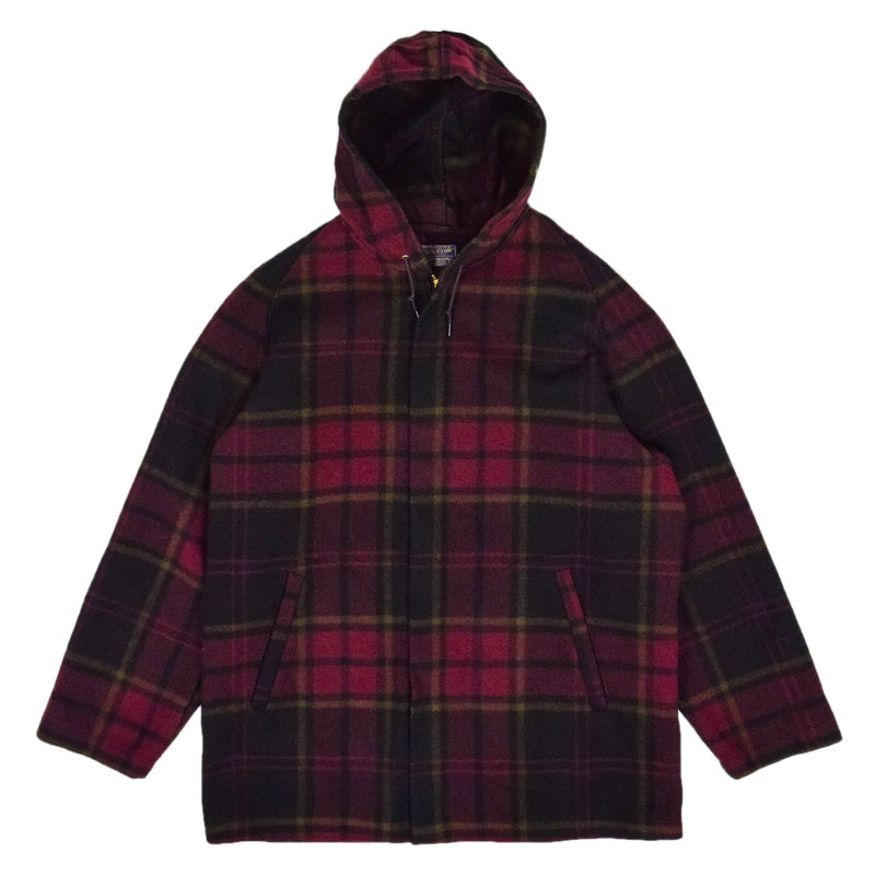 Vintage 60s Pendleton Pure Virgin Wool Plaid Hooded Jacket Made in USA L front