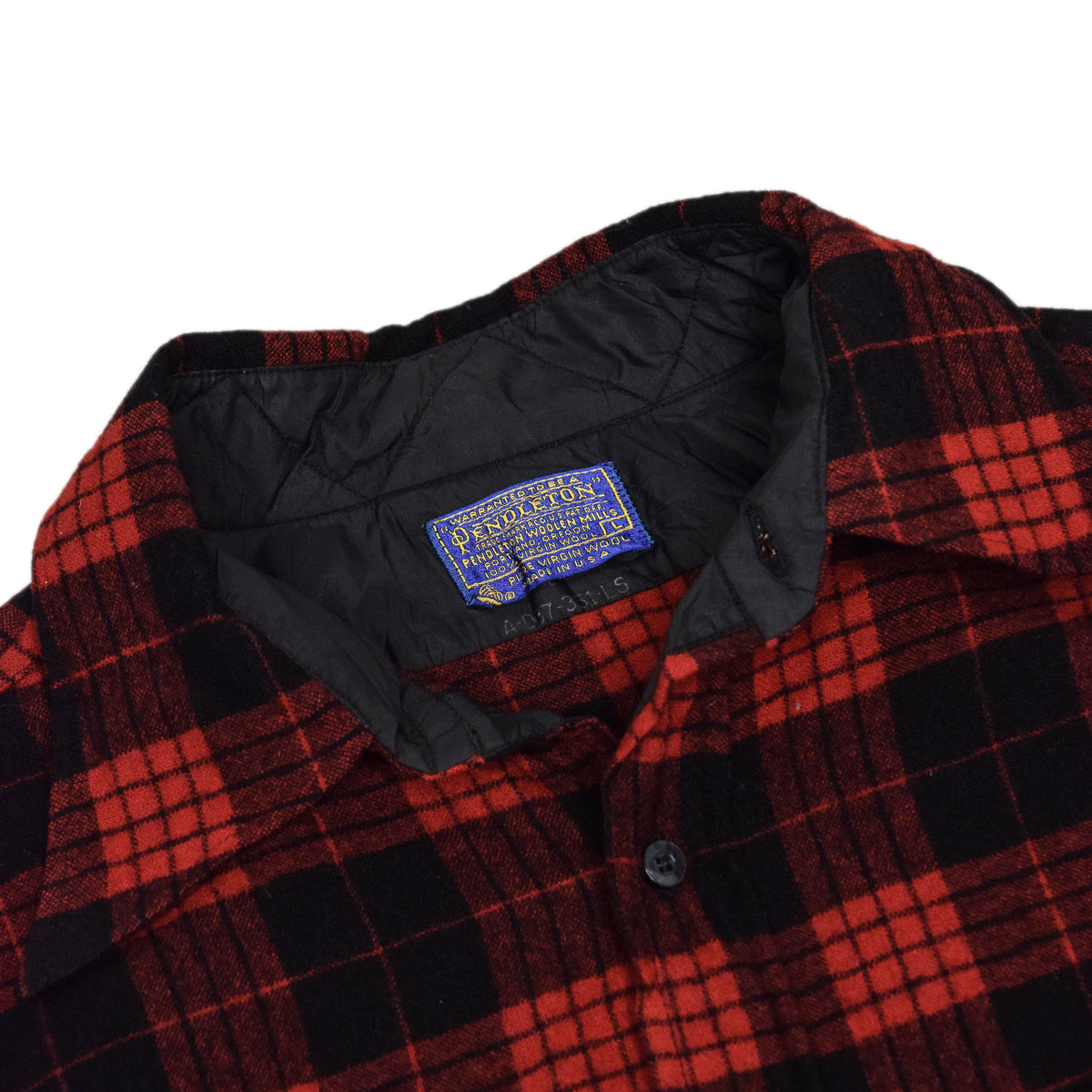 Vintage Pendleton Plaid Long Sleeve Made In USA Pure Virgin Wool Check Shirt L COLLAR