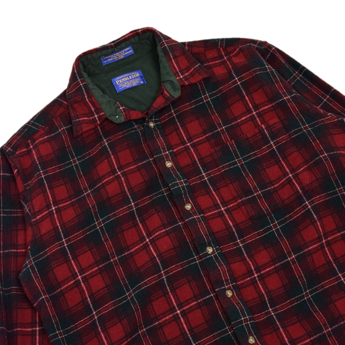 Vintage Pendleton Plaid Long Sleeve Virgin Wool Check Shirt L COLLAR