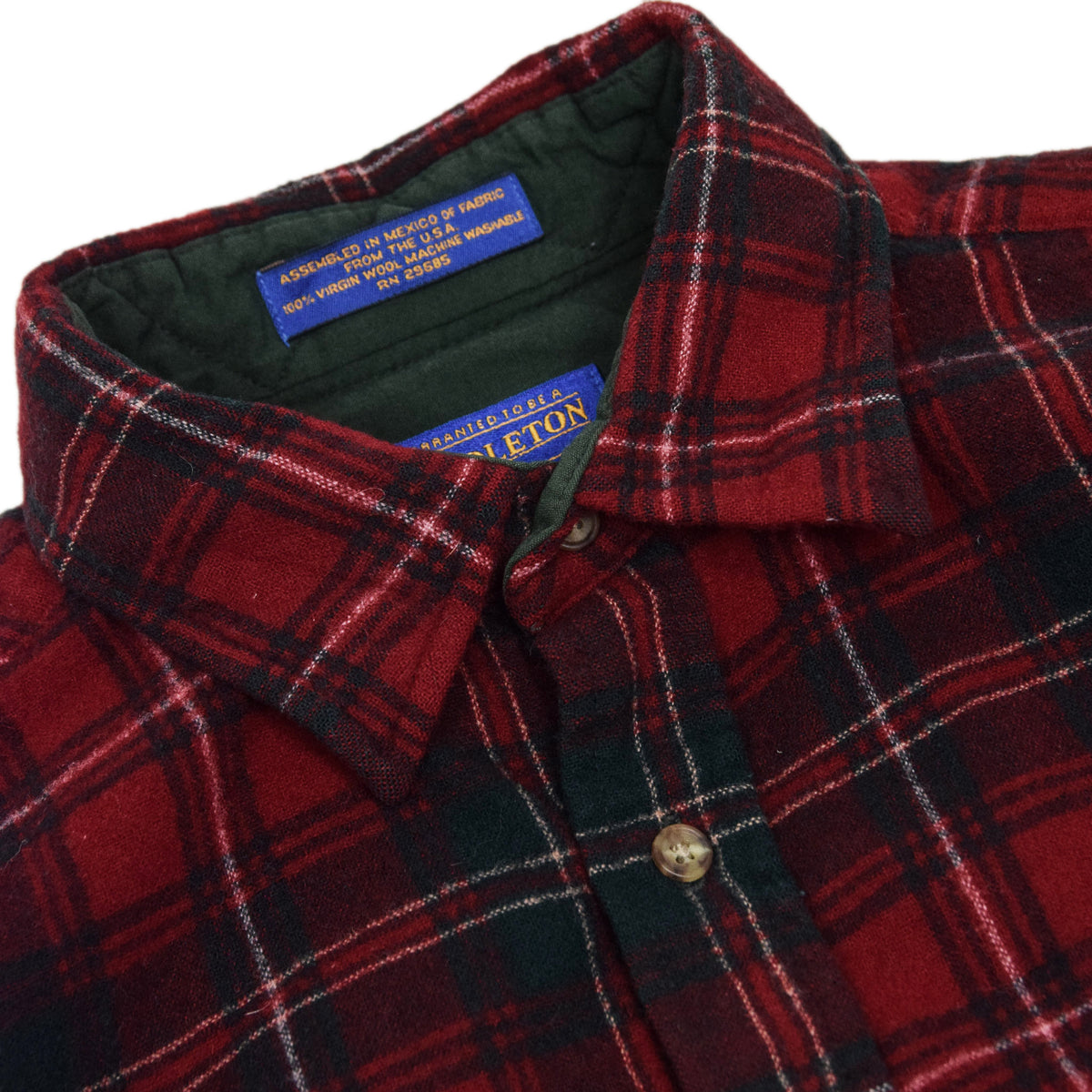 Vintage Pendleton Plaid Long Sleeve Virgin Wool Check Shirt L