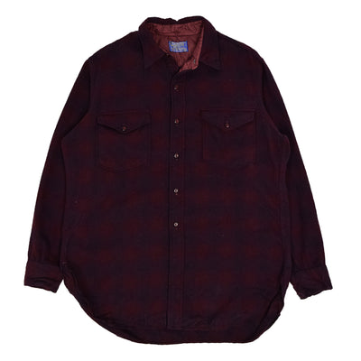 Vintage 60s Pendleton Plaid Long Sleeve Virgin Wool Check Shirt L Burgundy front