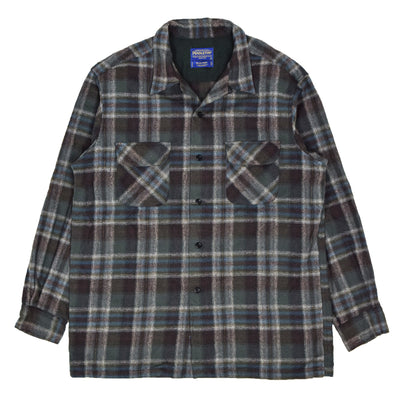 Vintage 90s Pendleton Plaid Long Sleeve Virgin Wool Check Board Shirt L FRONT