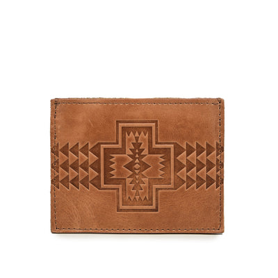 Pendleton Leather Embossed Slim Card Holder Veg Tan Wallet FRONT