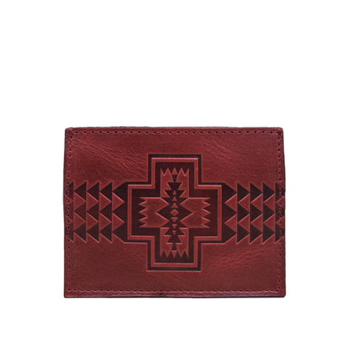 Pendleton Leather Embossed Slim Card Holder Oxblood Red Wallet front