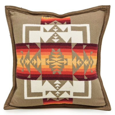 Pendleton Chief Joseph Patterned Cushion Tan Made in the USA FRONT
