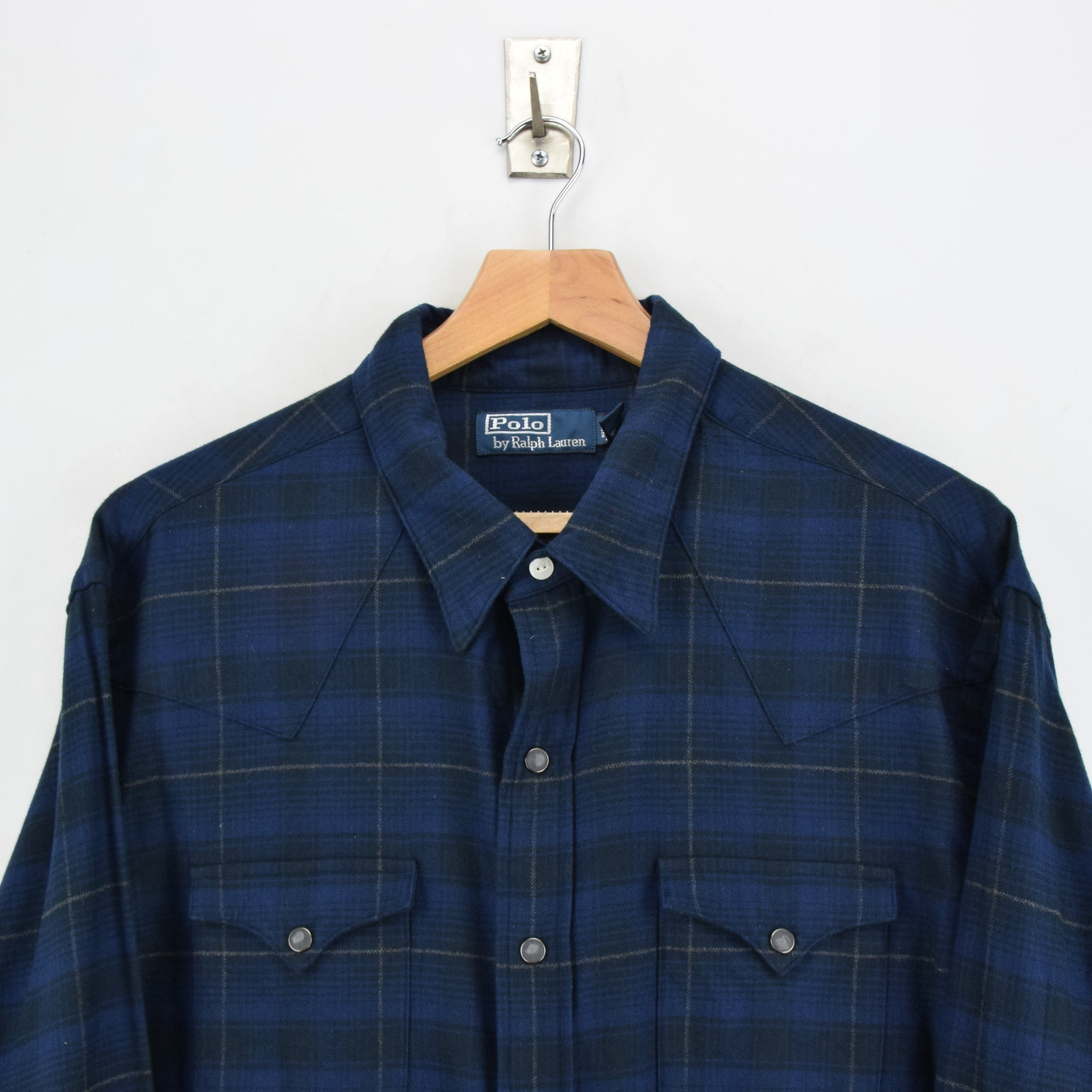 Ralph Lauren Polo Blue Check Cotton Western Style Shirt Long Sleeve XXL chest