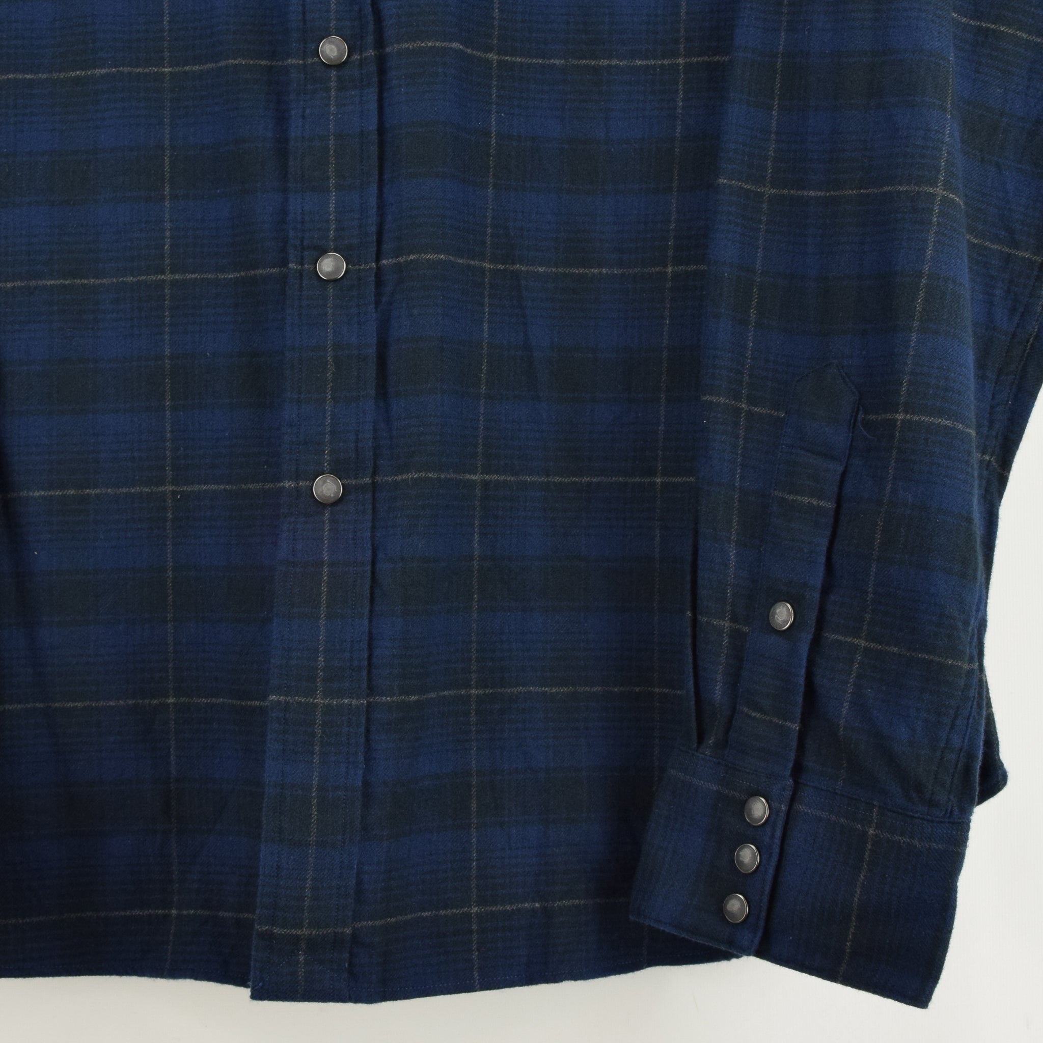 Ralph Lauren Polo Blue Check Cotton Western Style Shirt Long Sleeve XXL front hem