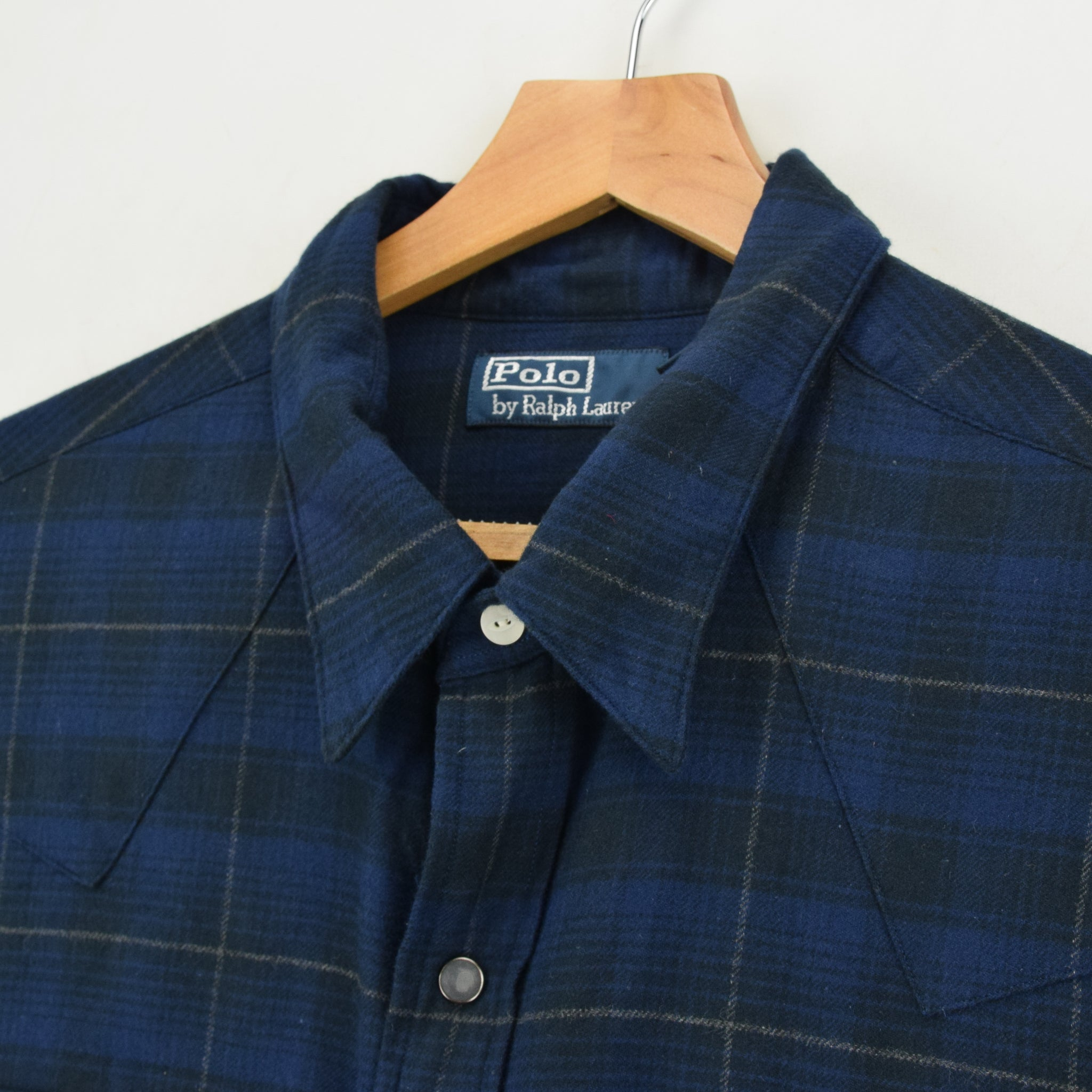 Ralph Lauren Polo Blue Check Cotton Western Style Shirt Long Sleeve XXL collar