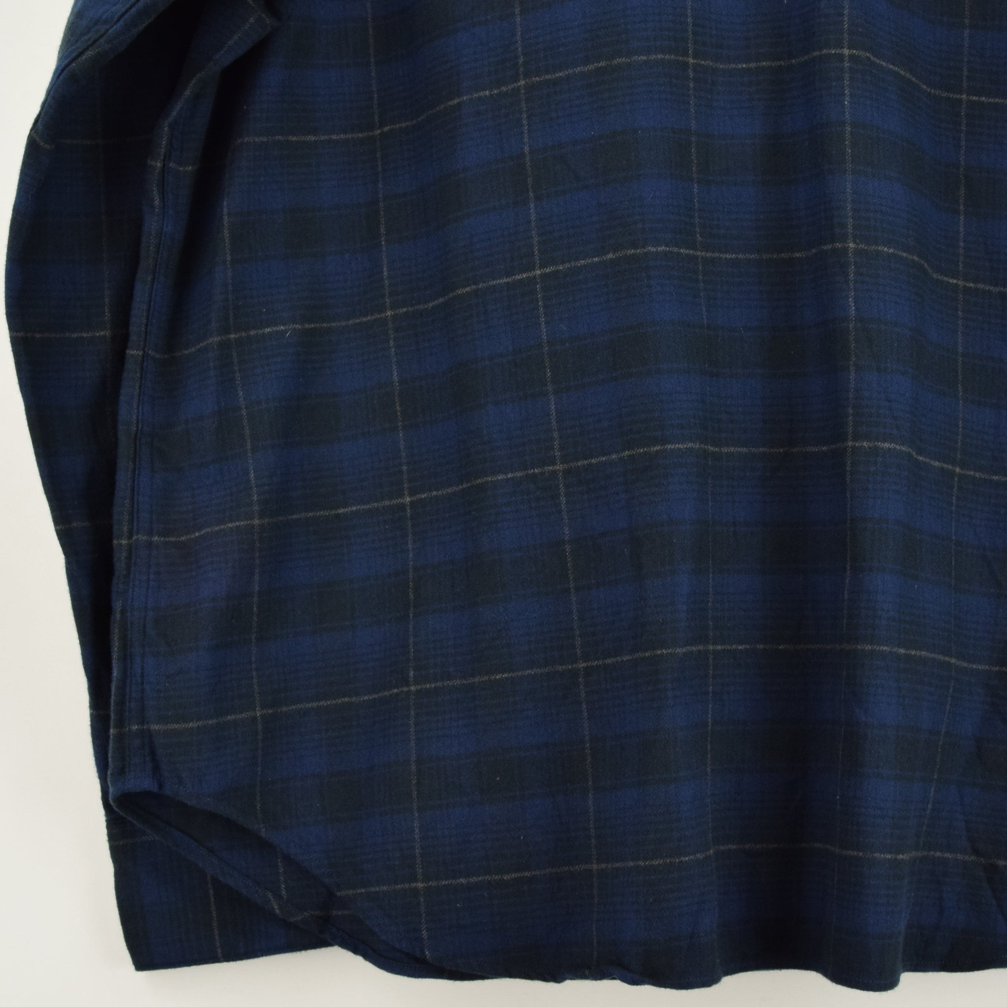 Ralph Lauren Polo Blue Check Cotton Western Style Shirt Long Sleeve XXL back hem