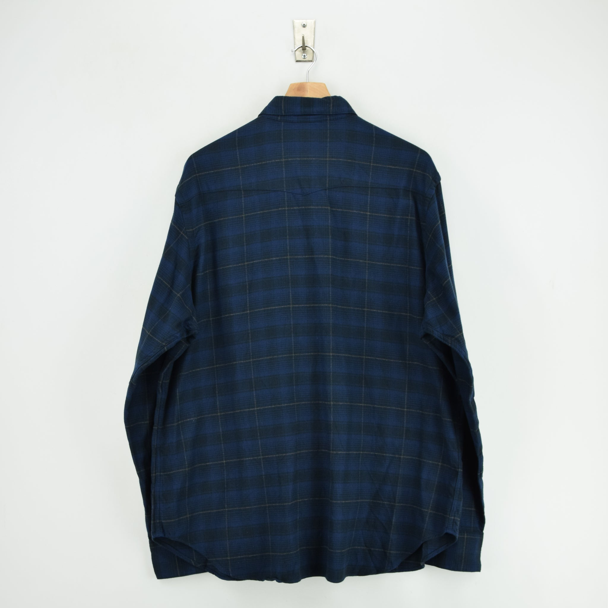 Ralph Lauren Polo Blue Check Cotton Western Style Shirt Long Sleeve XXL back