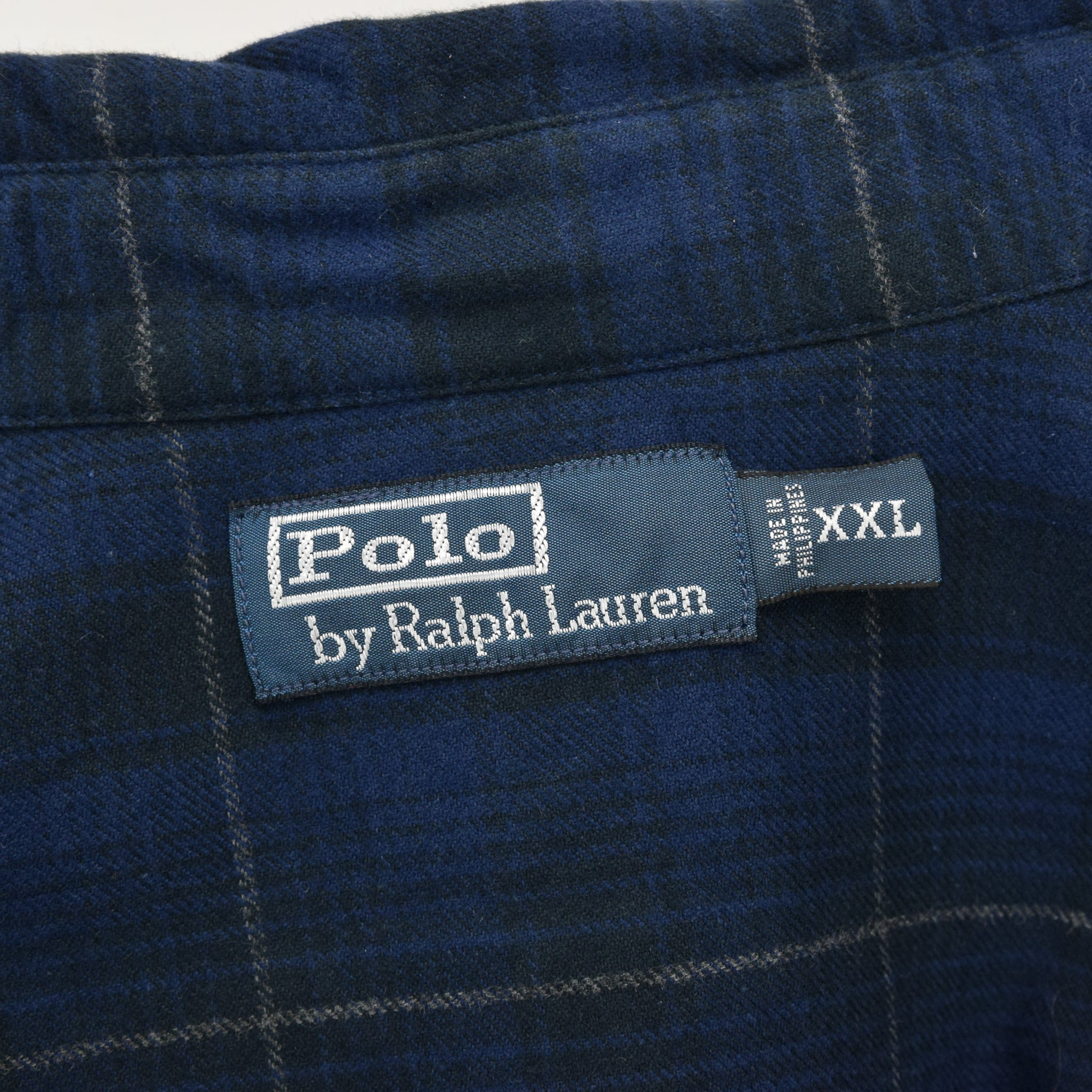 Ralph Lauren Polo Blue Check Cotton Western Style Shirt Long Sleeve XXL label