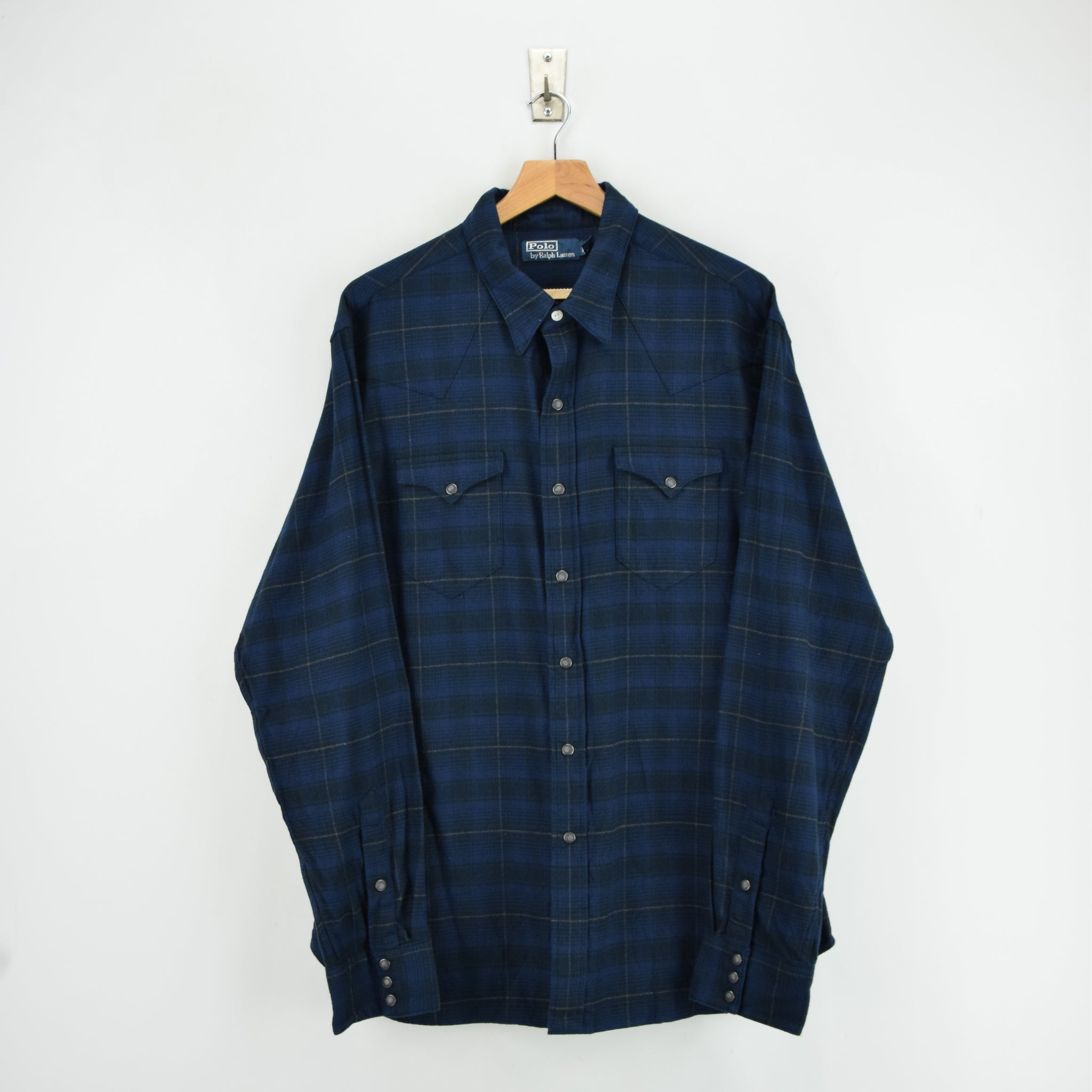 Ralph Lauren Polo Blue Check Cotton Western Style Shirt Long Sleeve XXL front