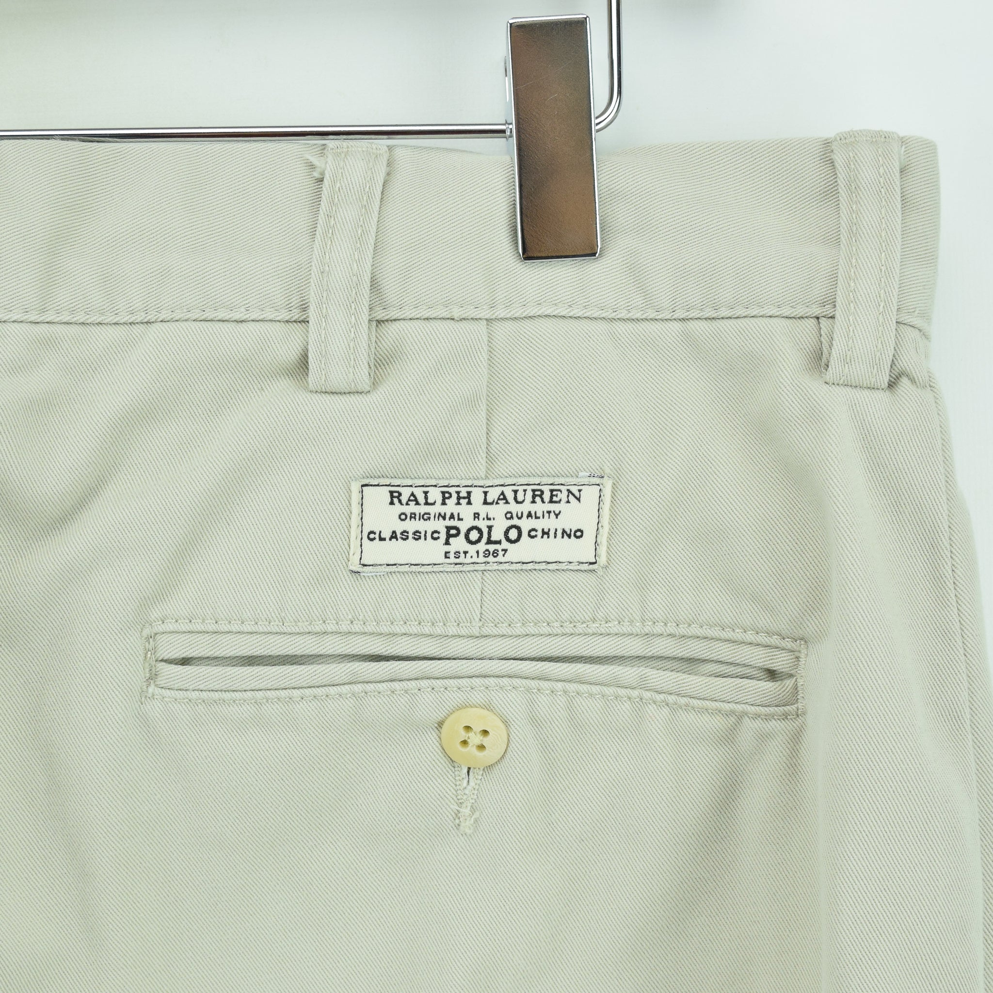 Ralph Lauren Polo Prospect Pant Chinos Stone Flat Front Trousers 32 W 30 L back pocket