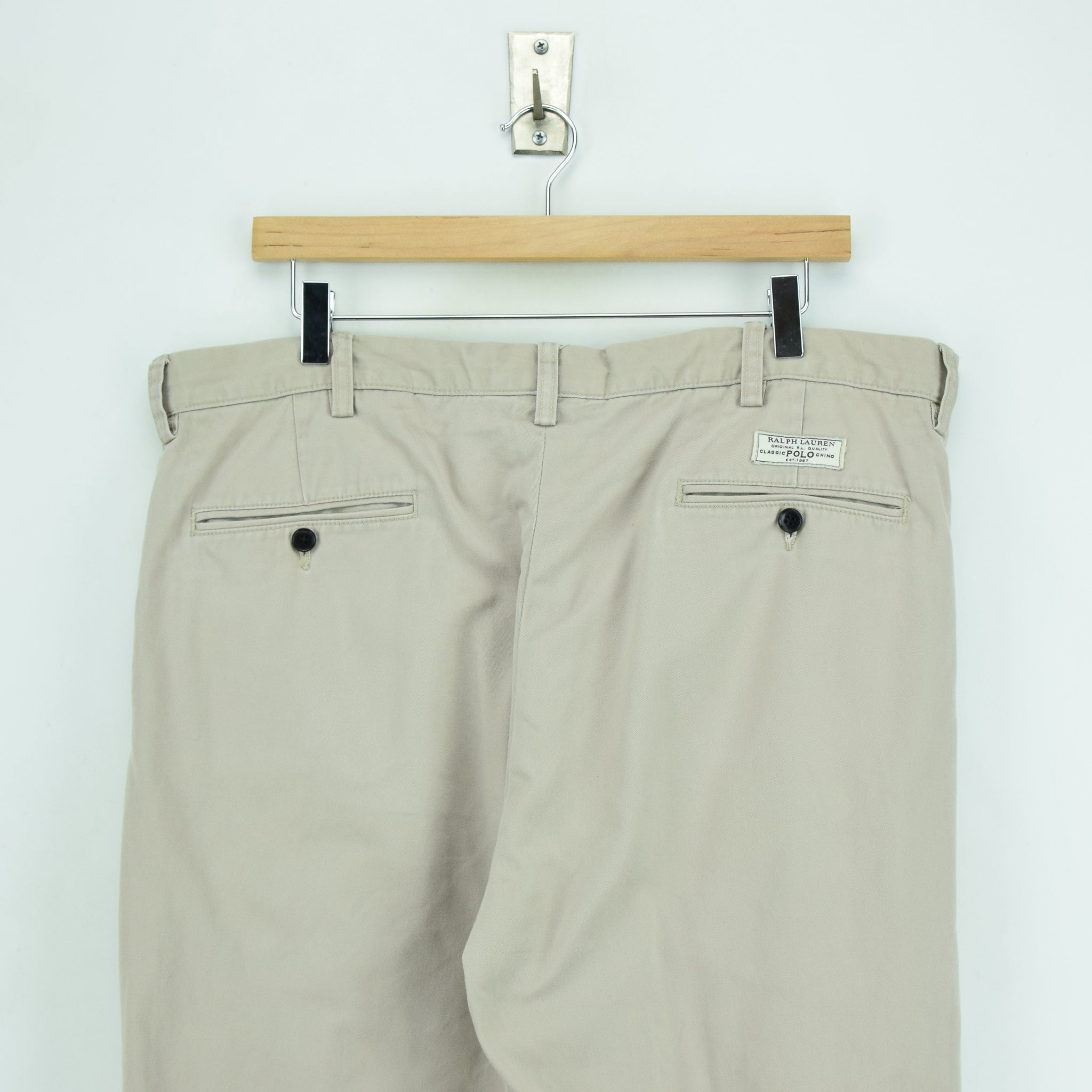 Ralph Lauren Polo Prospect Pant Chinos Stone Pleated Front Trousers 36 W 34 L back waist