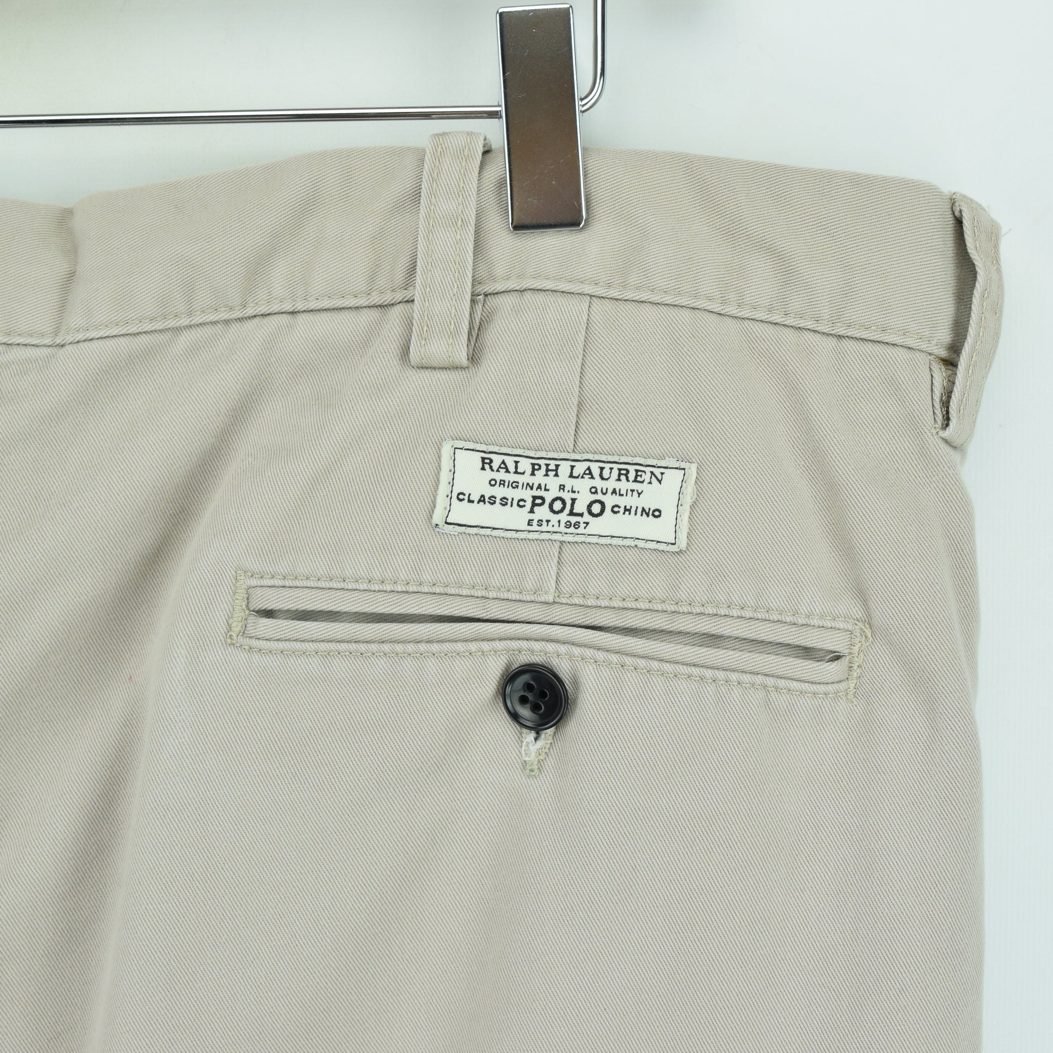 Ralph Lauren Polo Prospect Pant Chinos Stone Pleated Front Trousers 36 W 34 L back waist pocket label