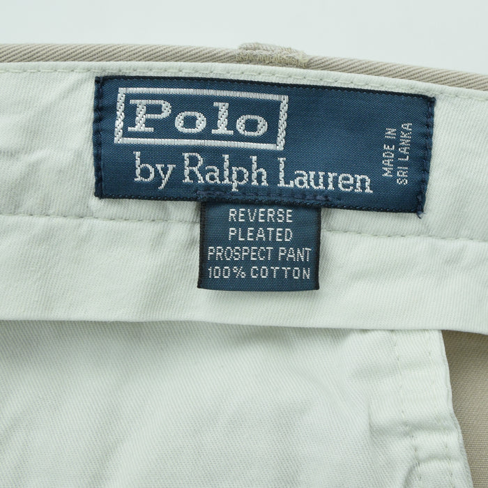 Ralph Lauren Polo Prospect Pant Chinos Stone Pleated Front Trousers 36 W 34 L label