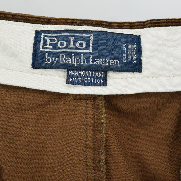 Ralph Lauren Corduroy Hammond Pant Cords Pleated Front Trousers 34 W 29 L label