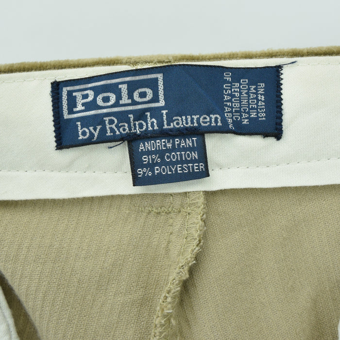 Ralph Lauren Corduroy Andrew Pant Cords Pleated Front Trousers 34 W 29 L label
