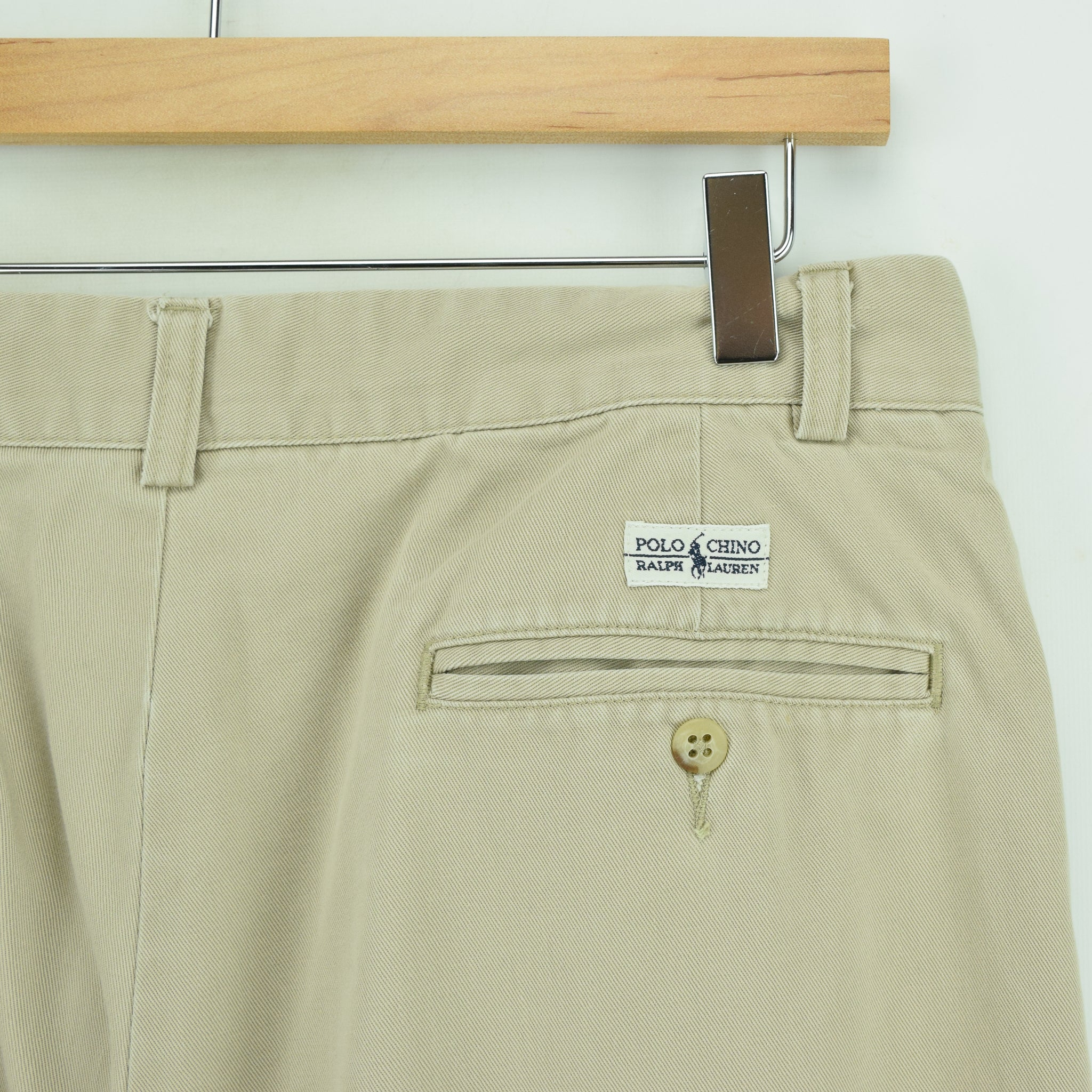 Ralph Lauren Polo Andrew Pant Chinos Stone Pleated Front Trousers 30 W 27 L back waist pocket