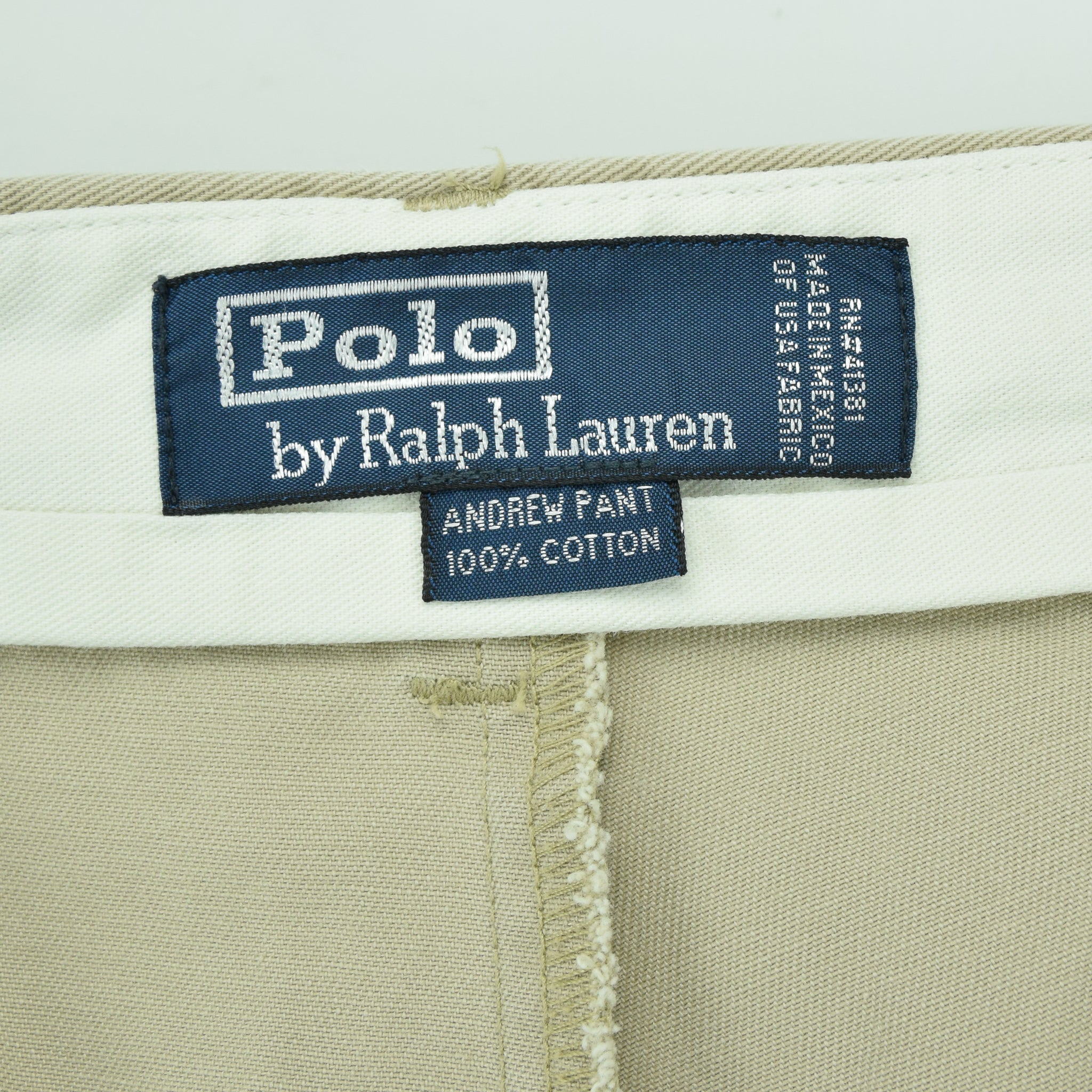 Ralph Lauren Polo Andrew Pant Chinos Stone Pleated Front Trousers 30 W 27 L label