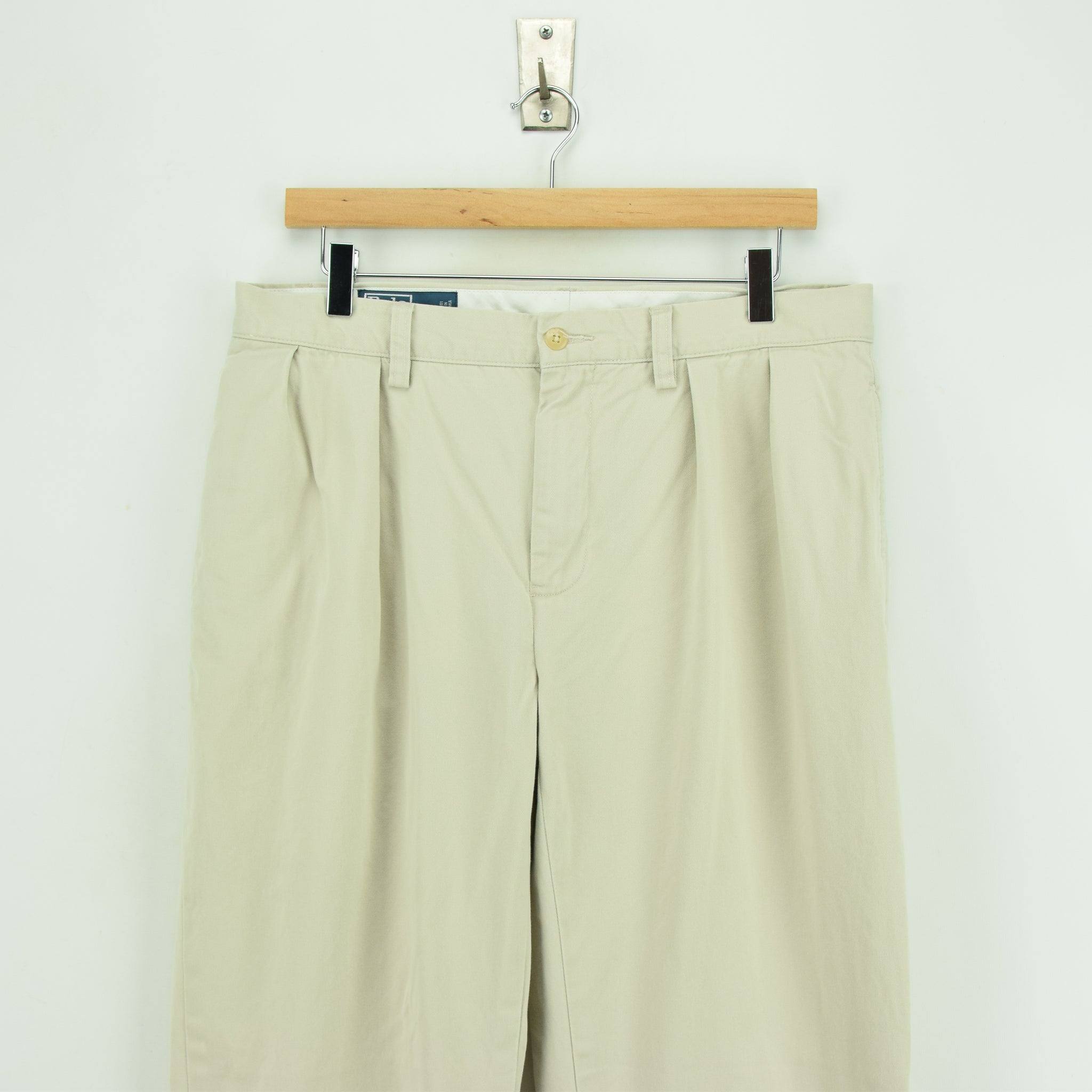 Vintage Ralph Lauren Polo Ethan Pant Chinos Pleated Front Trousers 32 W 28 L front waist