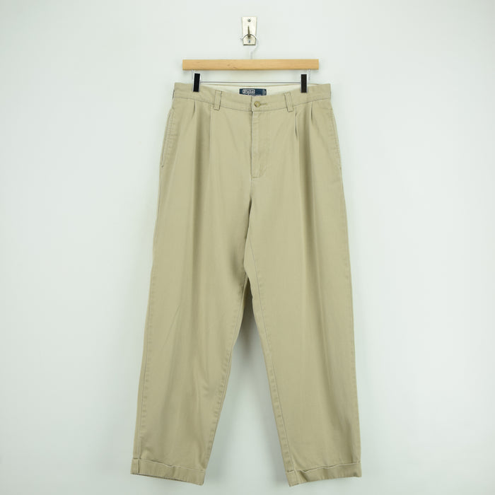 Vintage Ralph Lauren Polo Hammond Pant Chinos Pleated Front Trousers 32 W 29 L front