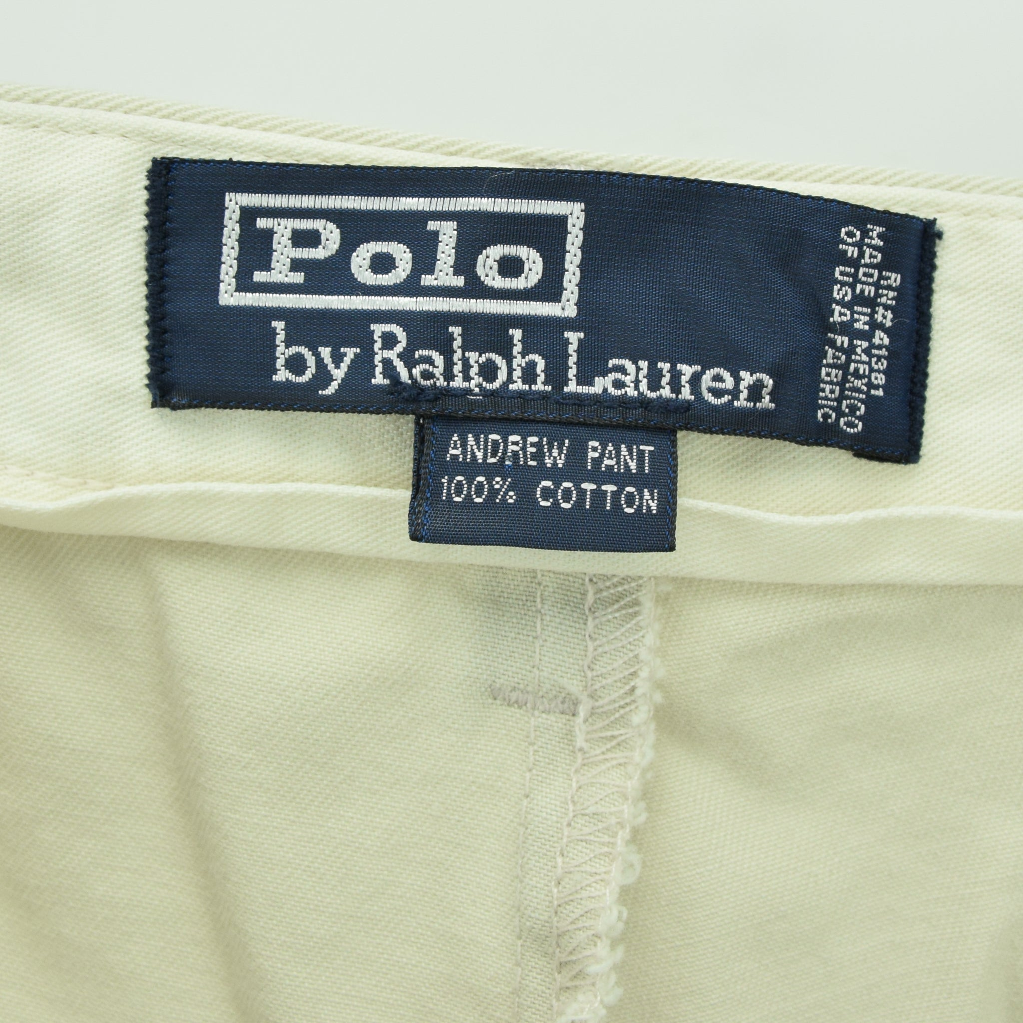 Vintage Ralph Lauren Polo Andrew Pant Chinos Pleated Front Trousers 32 W 28 L label