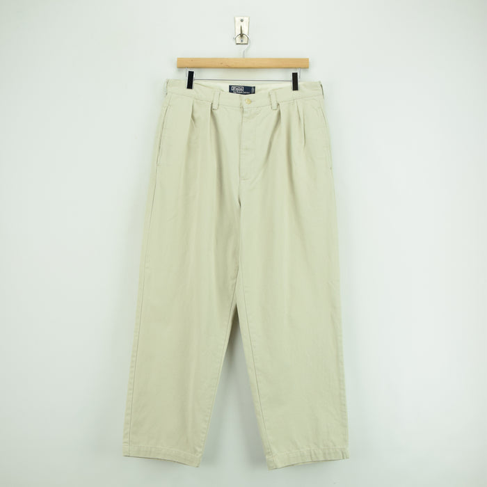 Vintage Ralph Lauren Polo Andrew Pant Chinos Pleated Front Trousers 32 W 28 L front