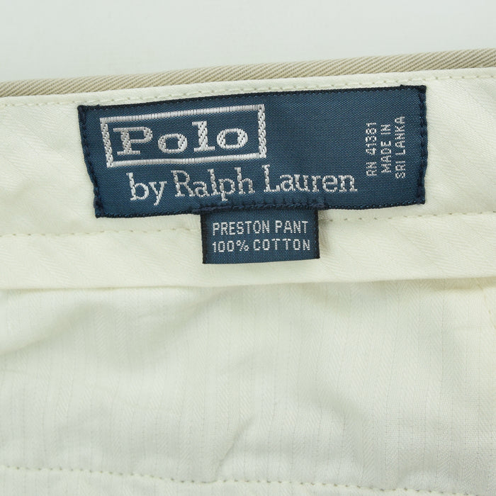 Vintage Ralph Lauren Polo Preston Pant Chinos Flat Front Trousers 32 W 29 L label