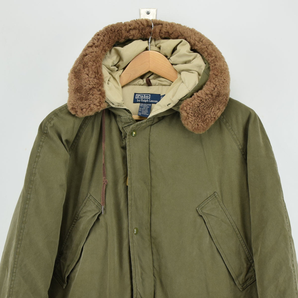 Ralph Lauren Polo Military Style Green Down Parka Jacket Shearling Trim Hood M chest
