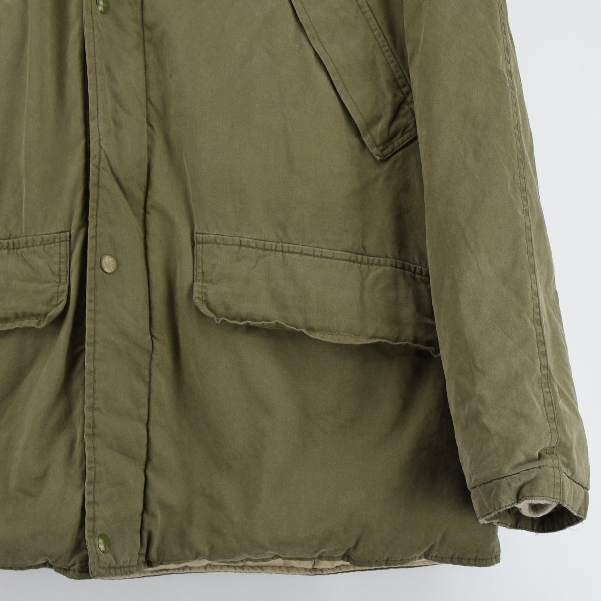 Ralph Lauren Polo Military Style Green Down Parka Jacket Shearling Trim Hood M front hem
