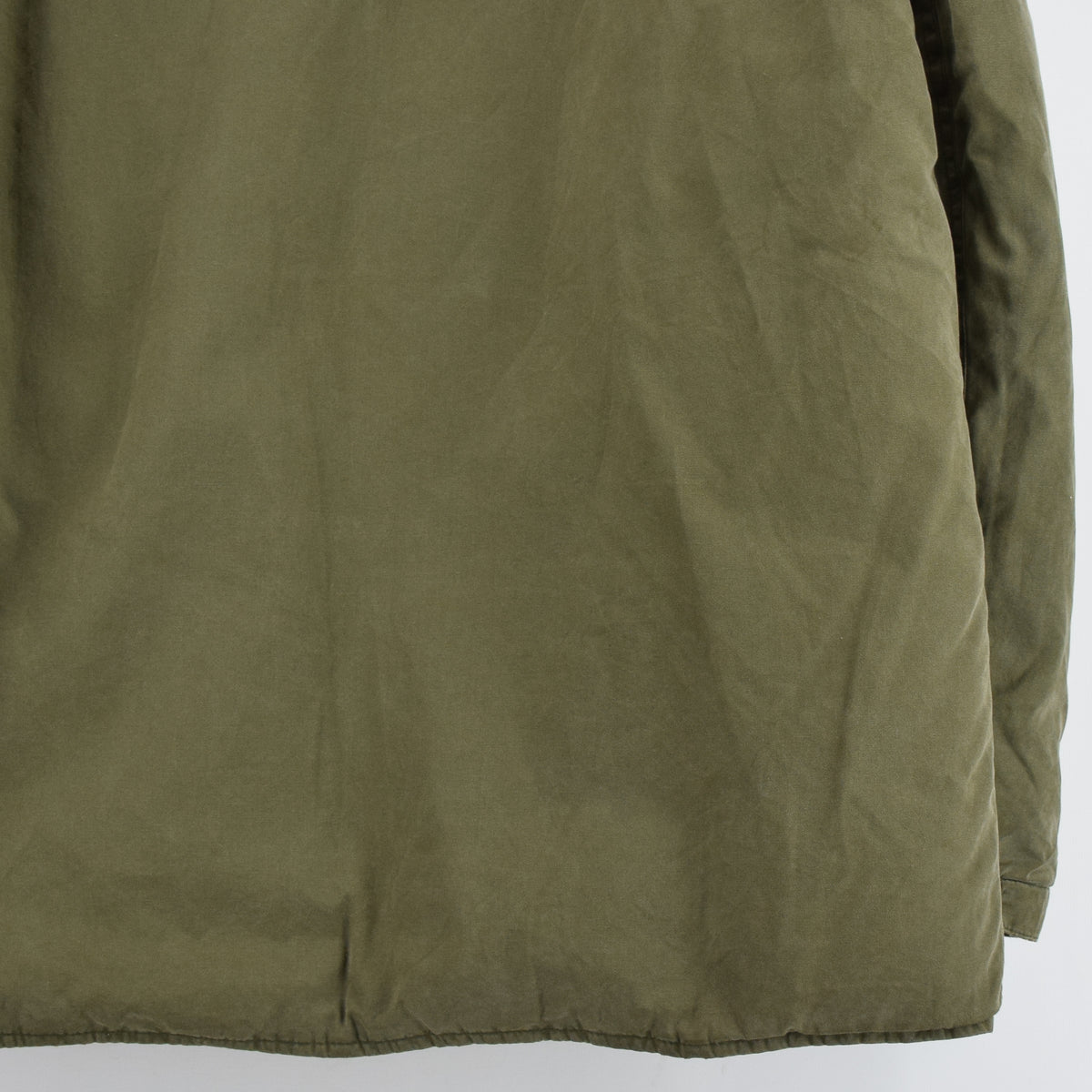 Ralph Lauren Polo Military Style Green Down Parka Jacket Shearling Trim Hood M back hem