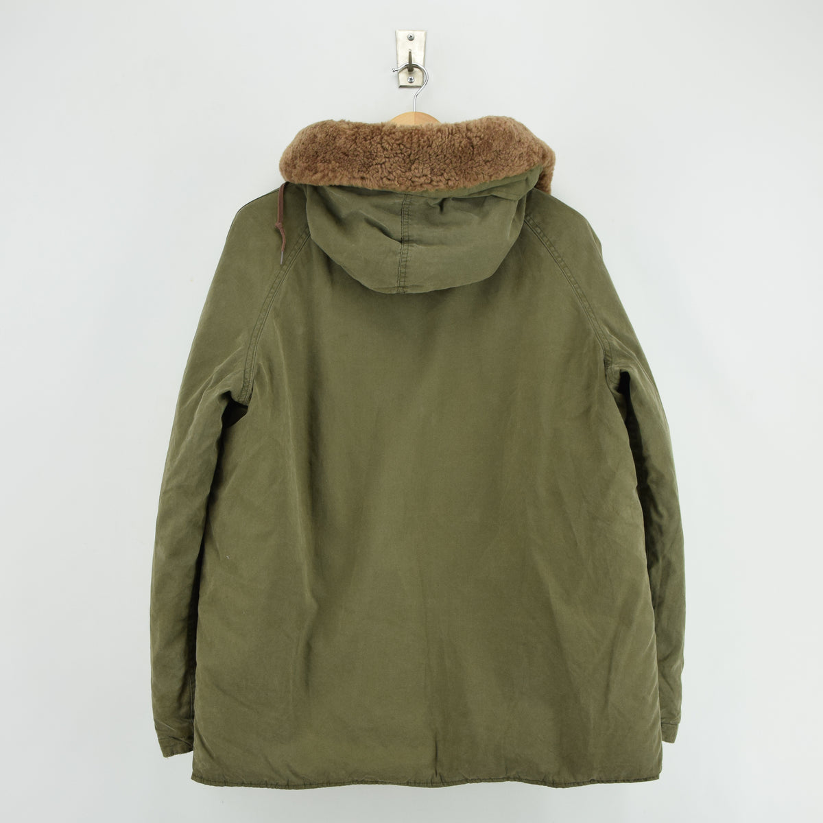 Ralph Lauren Polo Military Style Green Down Parka Jacket Shearling Trim Hood M back
