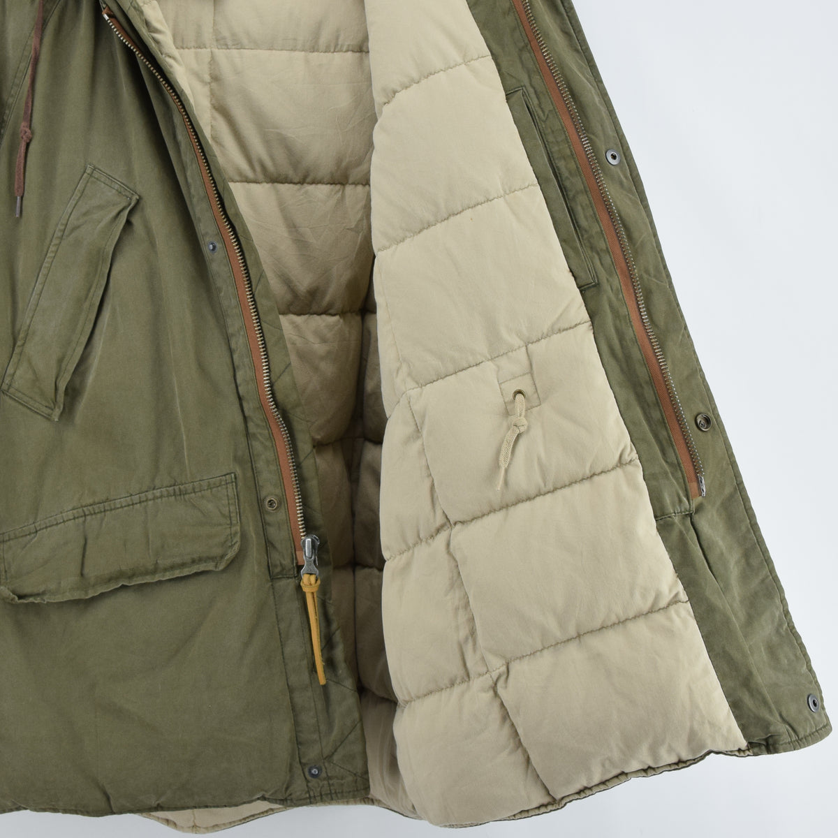 Ralph Lauren Polo Military Style Green Down Parka Jacket Shearling Trim Hood M lining