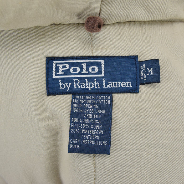 Ralph Lauren Polo Military Style Green Down Parka Jacket Shearling Trim Hood M label