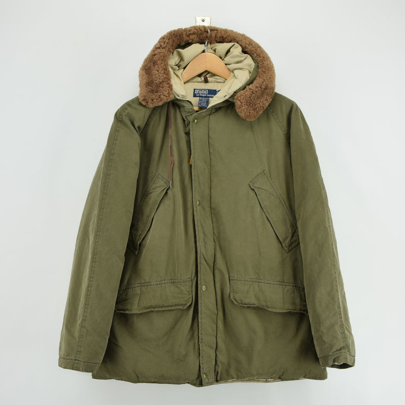 Ralph Lauren Polo Military Style Green Down Parka Jacket Shearling Trim Hood M front