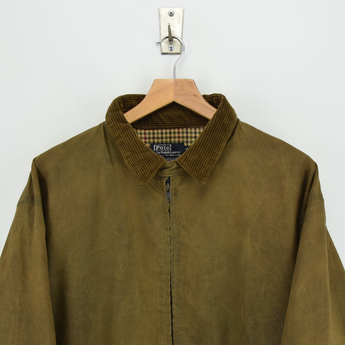 Ralph Lauren Polo Brown Bomber Harrington Waxed Cotton Jacket Made in USA XL chest