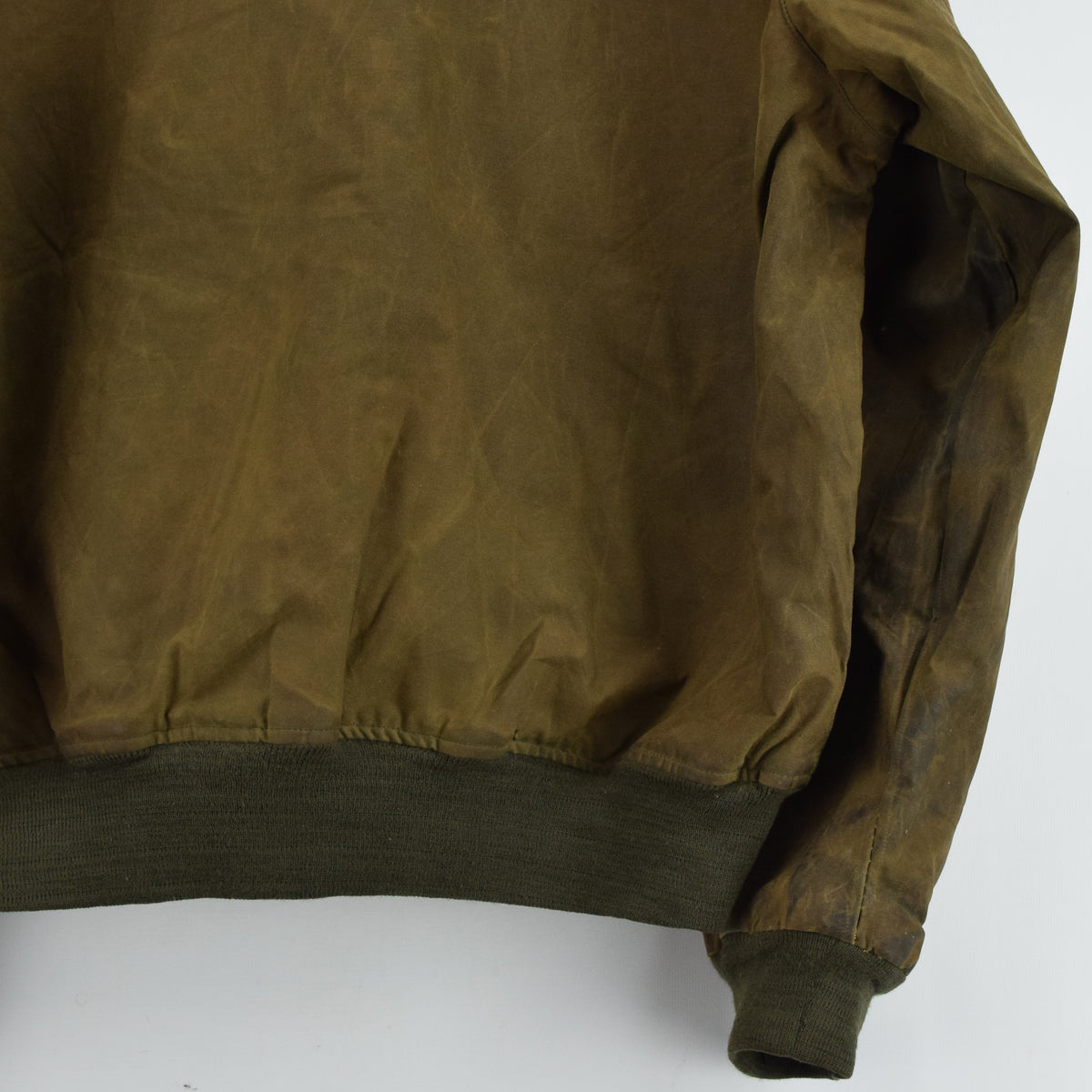 Ralph Lauren Polo Brown Bomber Harrington Waxed Cotton Jacket Made in USA XL back hem