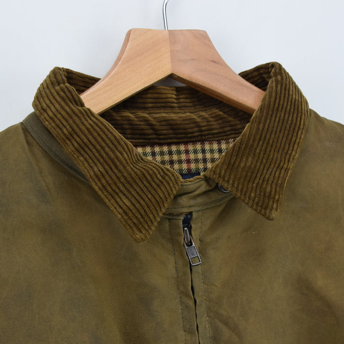 Ralph Lauren Polo Brown Bomber Harrington Waxed Cotton Jacket Made in USA XL collar