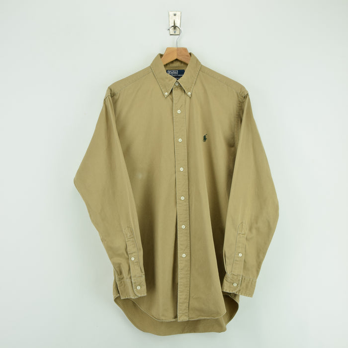 Vintage Ralph Lauren Light Brown Long Sleeve Cotton Shirt Classic Fit S / M FRONT