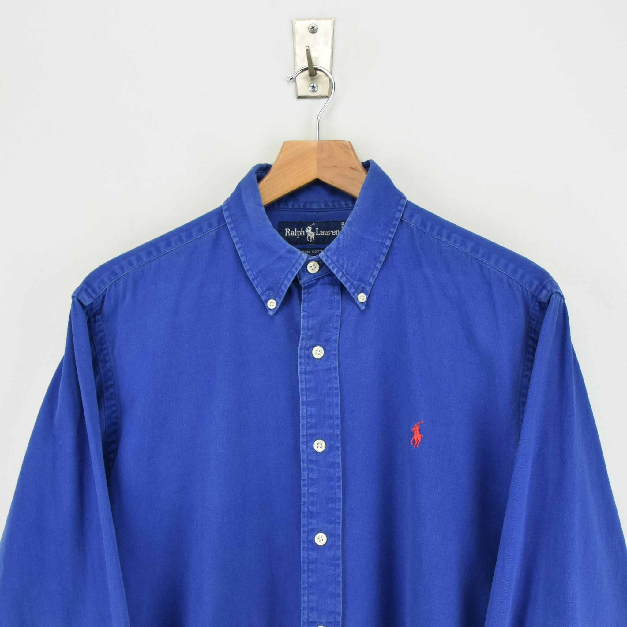 Vintage 80s Ralph Lauren Polo Blue Long Sleeve Cotton Shirt L chest