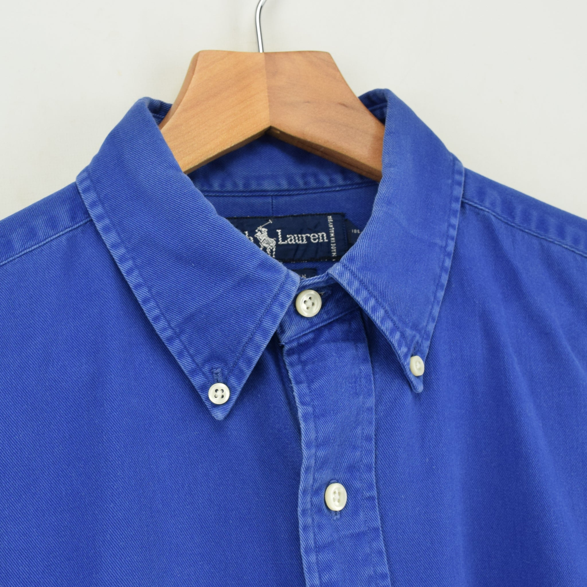 Vintage 80s Ralph Lauren Polo Blue Long Sleeve Cotton Shirt L collar