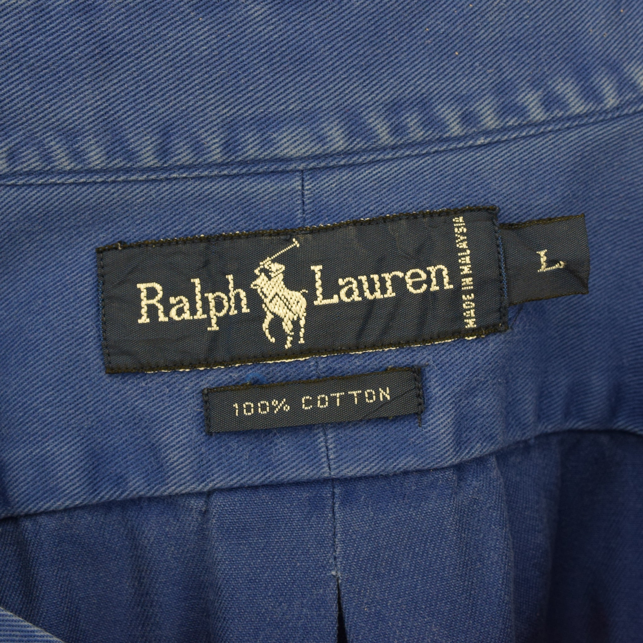 Vintage 80s Ralph Lauren Polo Blue Long Sleeve Cotton Shirt L label